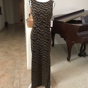 Black and gold sparkle evening gown